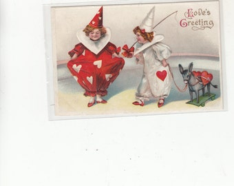 """1909 Antique Postcard Valentines Day Emb """"All Hearts"""" Two Children In Clown Suits W Hearts"""