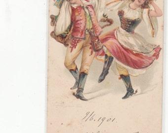 Netherlands-Nederlanse Traditional Dancers Embossed -Glitter Antique Postcard-Undivided Back-Wonderful Costumes