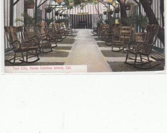 Avalon,Catalina,Ca Unused Antique Postcard Red Stripe Island Villa Tents,Aesthetic