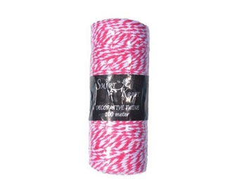 100m Hot Pink / White Coloured Bakers Twine on Spool 1.5mm Thick - CR6008