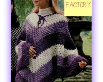 Women's Crochet Poncho PATTERN Vintage 70's Trending Instant Download on Etsy