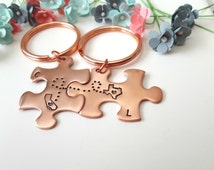 Different States Love, Long Distance Relationship, Puzzle Keychains Personalized, Couples Key Chains with Initials, Girlfriend Anniversary