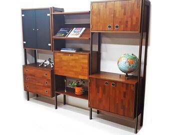 Mid Century  Modern Modular Wall Unit- Room Divider - Desk - Shelves - Cabinets - Bookshelves