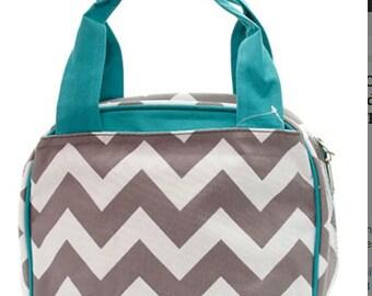 Gray Chevron W/ Aqua straps,  Lunch Box, Lunch Tote, Thermal Insulated, Monogramed