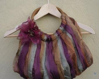 Vintage purse / Vintage Bag / Vintage Handbag /Vintage Tulle Purse/Autumnal Colors Handbag/ 90s Purse / Hipster / Gypsy / Boho Bag / Boho