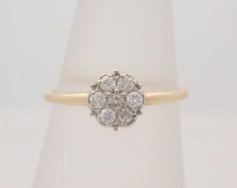 0.25 Carat T.W. Ladies Round Cut Diamond Cluster Ring 14K