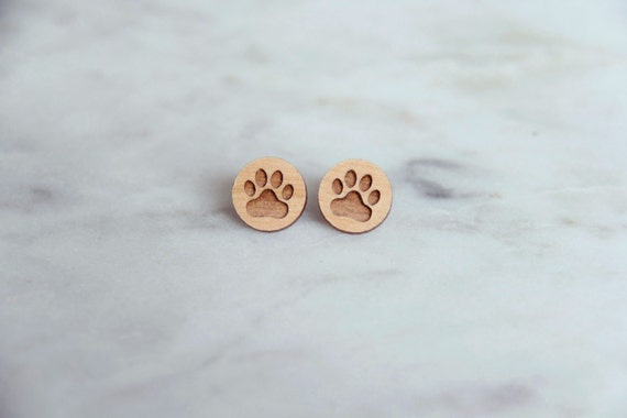 Wooden Paw Print Earrings Stud Earrings Animal Lover