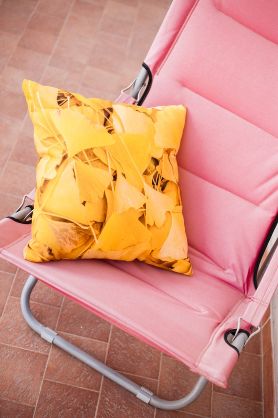 Yellow Pillow, Ginkgo Leaf Throws, Nature Photography, Living Room Decor, Yellow Pillow Cover