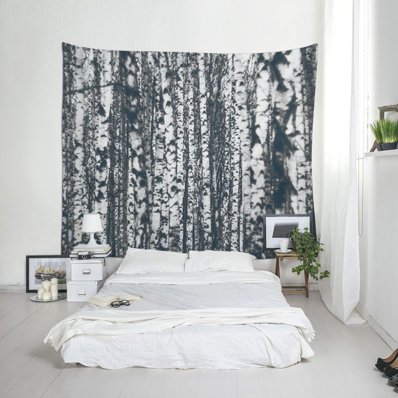 Forest Tapestry Birch Tree Wall Art Nature Decor Large Wall