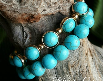 Turquoise Stretch Bracelet Duo *FREE SHIPPING*
