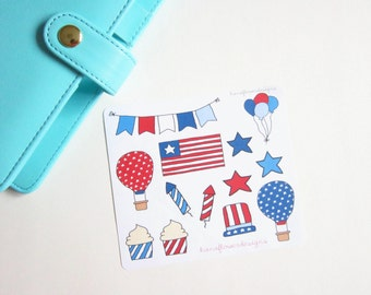 Fourth of July patriotic planner stickers /July stickers,summer stickers,America stickers /Planner accessories,decorative stickers  (D-0003)