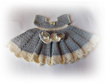 Gray baby dress, Crochet baby dress, Crochet baby plip flops, gray baby set, Newborn dresses, gray baby dresses, baby flip flops, baby set