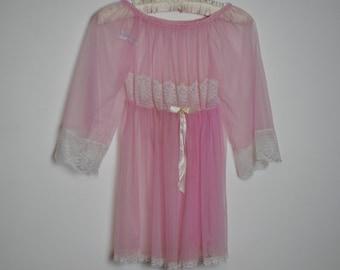 Vintage 70's Belle Smith Babydoll Nightie - Light Pink Nightie - Medium