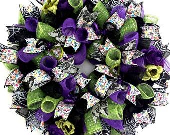 Sugar Skull, Wreath,, Sugar Skull Wreath, Dia de los Muertos, Dia de los Muertos Wreath, Sugar Skull Decor