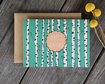 White Birch Trees, Birch Tree Birthday Card, Forest Birthday Card, Tree Birthday Card