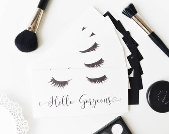 Hello gorgeous, Eyelashes card, Stationery set, Chic stationery set, Fashion card, Fashion lash card, Cute stationery set, Fashion art