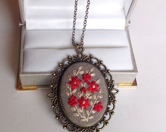 Hand Embroidery Jewelry Gift for Mom Embroidered Flower Necklace Unique Necklaces for Women Fabric Necklace Fabric Pendant