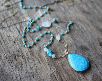 Turquoise and Rainbow Moonstone Long Necklace