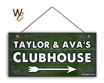 """ON SALE Kid's Clubhouse Sign, Personalized Sign, Kid's Name, Kids Door Sign, Baby Nursery Wall Decor, 5"""" x 10"""" Sign, Dark Green Sign, Made T"""