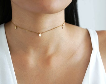 Teardrop Charm Necklace, Gold Charm Necklace, Gold Choker Necklace, 14 Karat Gold Filled Necklace, Layering Necklace, Adjustable