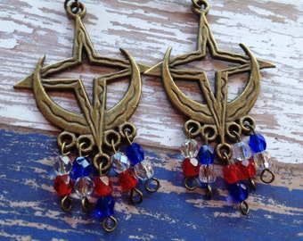 4th of July, Earrings, Red, Clear and Blue Earrings, Patriotic Earrings, Jewelry, Womens Jewelry, For Her, Dangle Earrings, Earrings