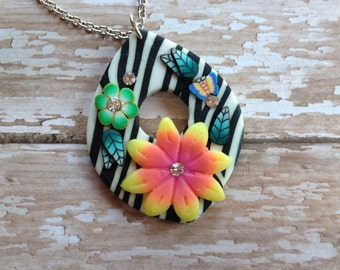 Flower Necklace,  Floral Necklace, Polymer Clay Necklace, Flower Necklace,  Jewelry,  Necklace