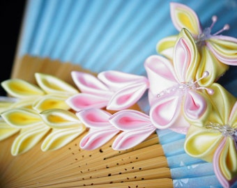 Pink and yellow fluttershy inspired hair clip Kanzashi