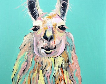 tina the lama, lama, animal art, colorful lama, zoo art, zoo animals, colorful print, lama wall art, nursery, animal nursery, baby, baby art