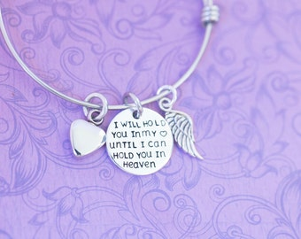 I Will Hold You in My Heart Until I Can Hold You in Heaven Bracelet with Urn - Memorial Jewelry  - Cremation Jewelry