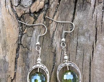 Green Bead Earrings.  SC0159