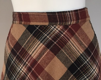 Brown plaid skirt | Etsy