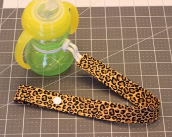 Leopard Bottle Strap With Elastic and Toggle End, Sippy Cup Leash, Bottle Leash, Sippy Strap, Snack Cup Leash Baby Shower Gift