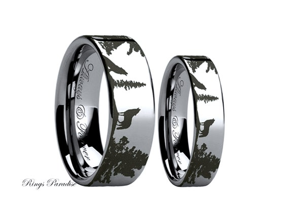 Wolf Ring Couples Wedding Ring Wedding Band Sets Tungsten