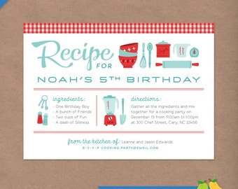 Cooking Party Printable Birthday Invitation // Retro Recipe Card // DIY Custom Printable Invite // Kids Party // Baking Chef Kitchen