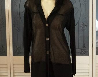Vintage Escada Margaretha Rey Fine Knit Cardigan Sweater Long Sleeve Italy