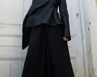 Black Leather Jacket / Asymmetrical Short Coat / Sexy Zipper Jacket / Extravagant Pattern Cardigan / Black Asymmetric Coat by METAMORPHOZA
