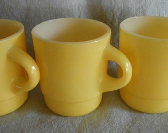 3 Yellow Anchor Hocking Fire King Stacking Coffee Mugs