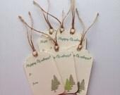 Christmas Gift Tags: 6 Christmas Tree Gift Tags - Happy Christmas - Handmade Gift Tags - Rustic - Gift Tags Christmas - Gift Tags Holiday