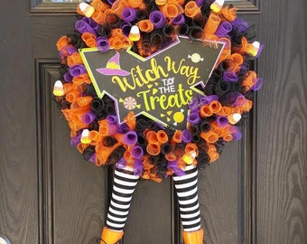Witch Way To The Treats - Halloween Wreath