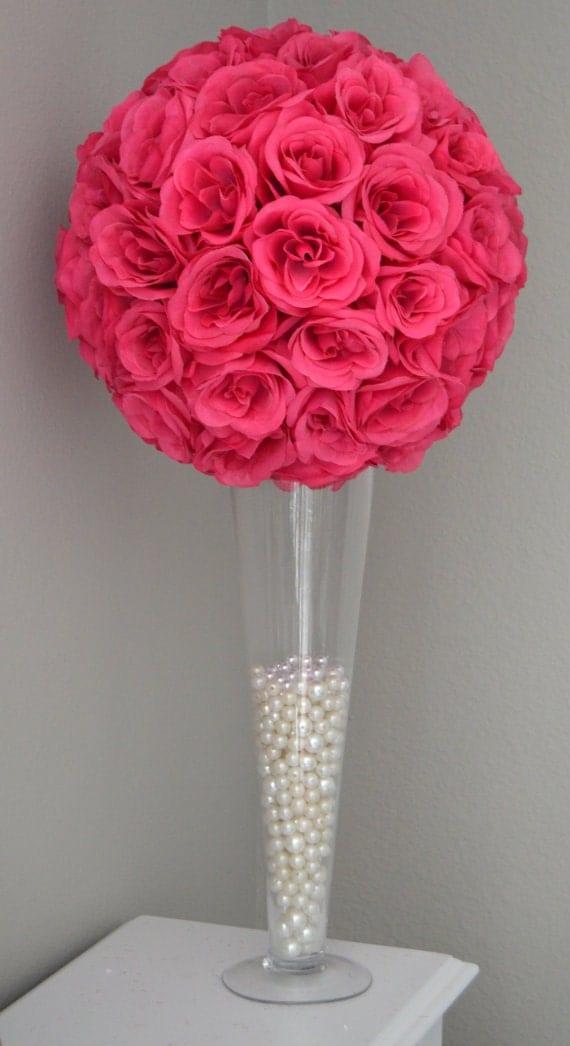 Trumpet vase wedding centerpiece flower ball by kimeekouture