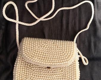 White Beaded Handbag by La Regale Hong Kong