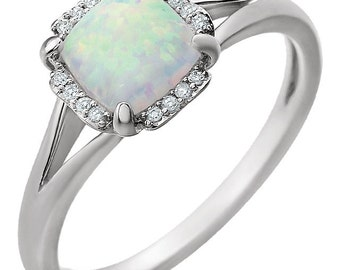 14K White Gold Created Opal & .05 CTW Diamond  Halo Style Ring Set with 6 MM Cushion Cut Created Opal Gemstone, October Birthstone