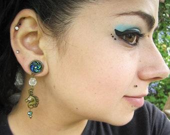 "Mystical Swirl Spiral Unicorn stretched dangle EAR PLUG earrings you pick the gauge size 2g, 0g, 00g, 7/16"", 1/2"" aka 6mm, 8mm, 10mm, 12mm"