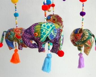 King of Elephants Baby Crib Mobile Handmade Batik Nursery Decor