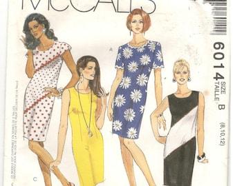 McCall's 6014 McCalls Size 8, 10, 12 Womens pattern: short sleeve / sleeveless shift or sheath dress, opt. front / back darts, asymmetric
