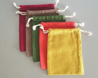 Small Linen/Cotton Drawstring Bags AUTUMN TONES