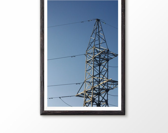 Photography home decor Industrial photo Large Poster Art Electrical tower Power tower Power lines Steel structure Urban minimalist Steel