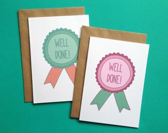 A6 Well Done Medal Congratulations Achievement Greeting Card