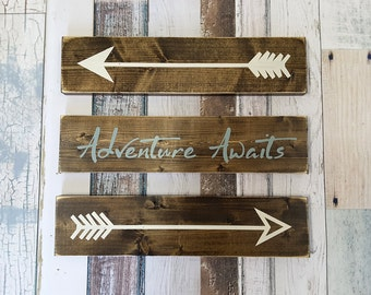 Adventure Awaits Rustic Wooden Arrows - 3 Piece Set, Nursery Decor, Wooden Arrow, Arrow Decor, Baby Room Decor, Wooden Arrow Wall Art