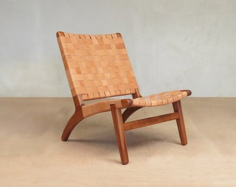 Accent Chair,  Leather, Mid Century Modern, Lounge Chair,  Royal Mahogany Frame, Handwoven Seat. Retro Rustic Modern Danish Modern Furniture